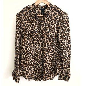 WHBM Leopard 100% Silk Button Down-Size 2 (EUC)